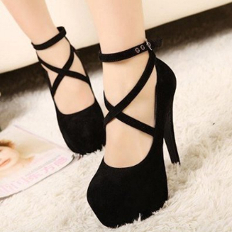 Size 34-42 Super High Thin Heels Shoes Spring Autumn Pumps T-strap Buckle Strap Retro Round Toe Pumps Wedding Shoes Women 911866 lady larger size 4 15 t strap buckle sexy closed round toe genuine patent leather thin high heels shoes women pumps party offce