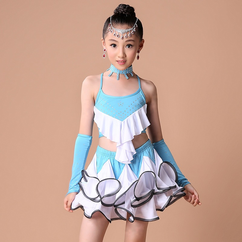 85-165cm Kid Latin Dance Dress Ballroom Dancing Clothes Children Performance Dancing Costume Girls Salsa Samba Tango Dance Skirt