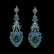 Fashion brand blue crystal statement earrings long rhinestone drop chandelier earrings indian jewelry