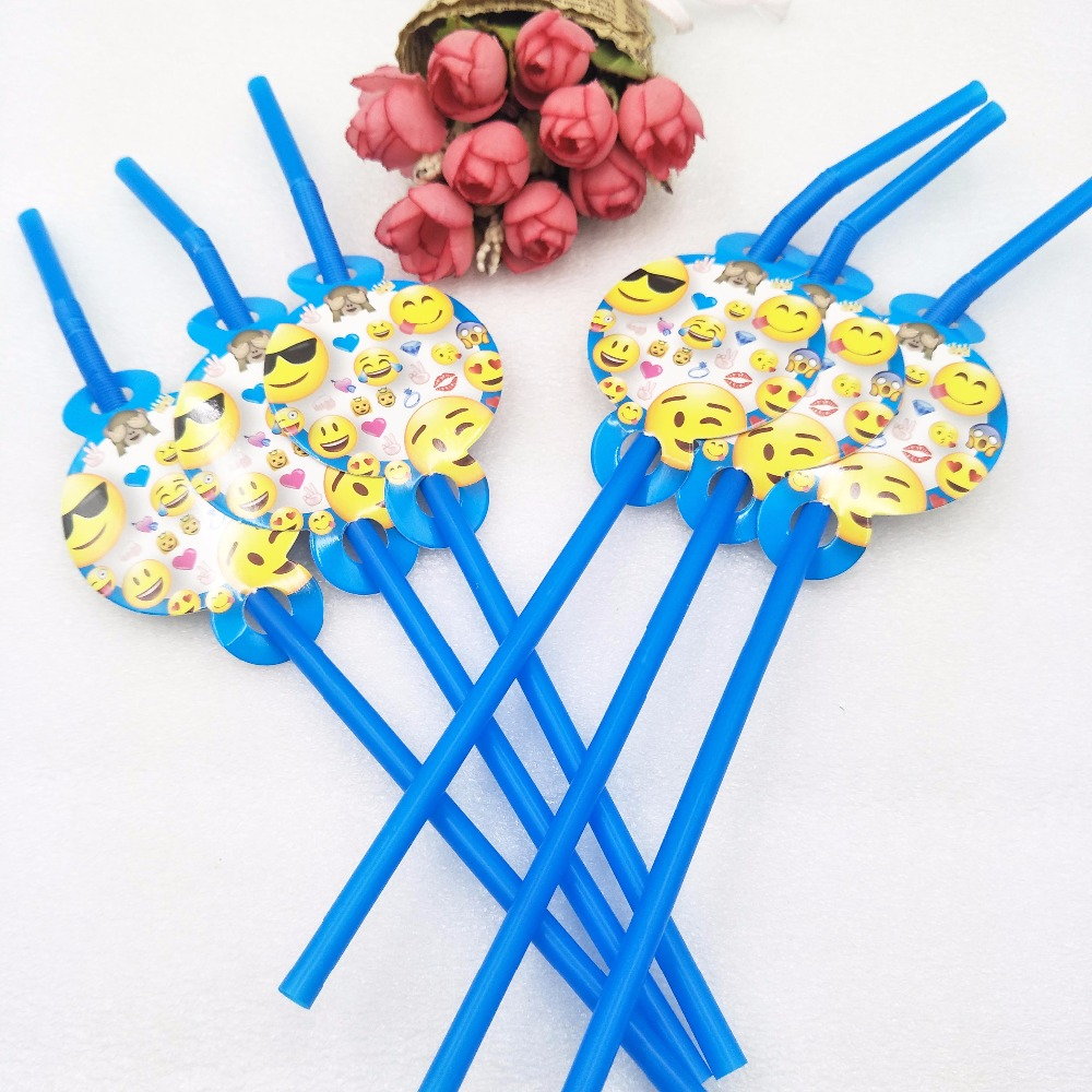 6pcs/bagSmiley Face Expression Theme Party Straws Supplies Kids Girls Boys Birthday Party Drink Straws Decoration Party Supplies