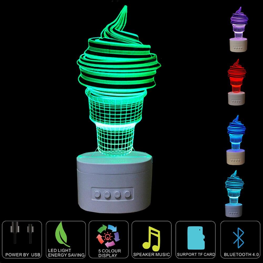 Creative Ice Cream Lamp 3D Deco Vision Table Night light  3D Bluetooth Speaker LED Lamp