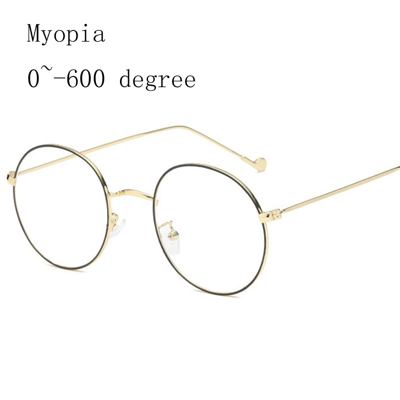 Alloy Glasses Women Black Gold Frame Myopia Glasses Frames Ladies Vintage Myopia Glasses -1.0 -1.5 -2.0 -2.5 -3.0 -4.0 -5.0 -6.0