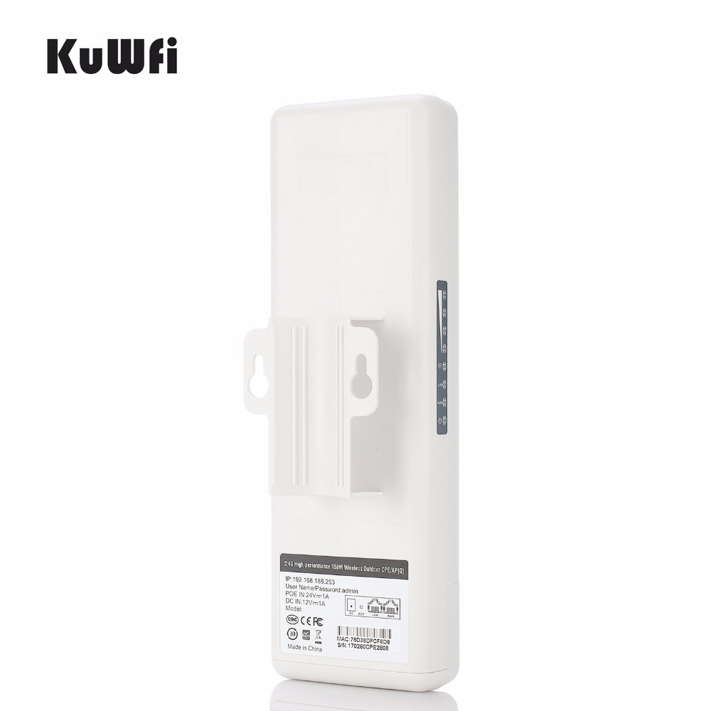 KuWfi 2KM 150Mbps Wireless Router Outdoor Waterproof Wireless CPE Router 1000mW WIFI Bridge&Repeater Support Monitor IP Cam