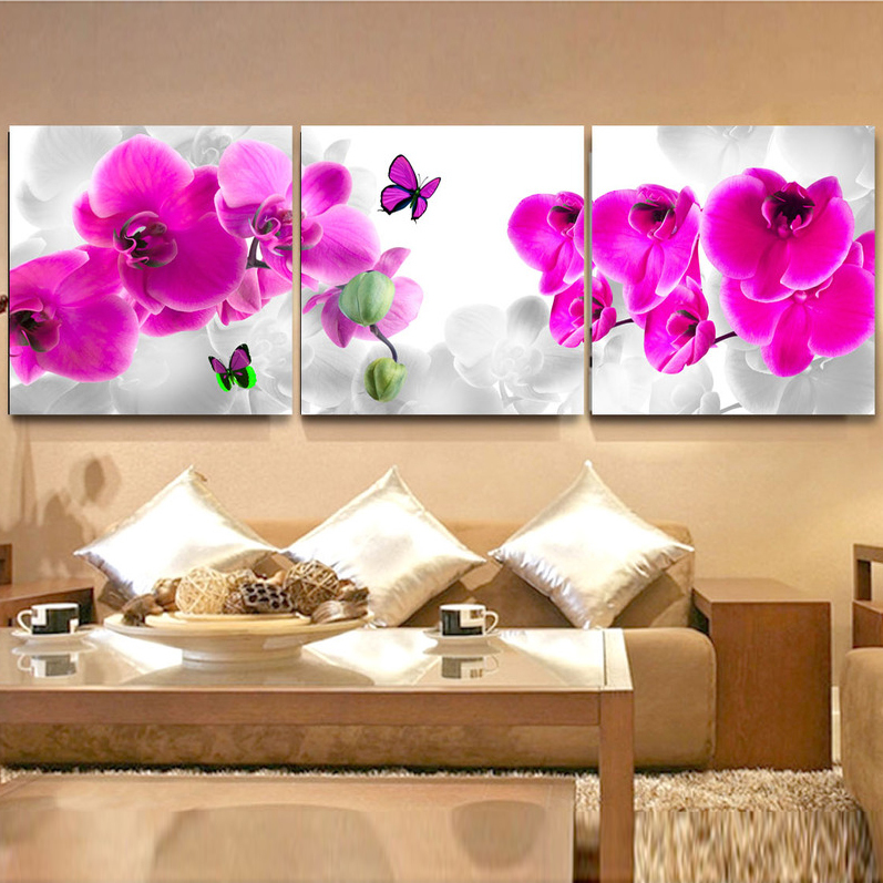 Buy 3 panel modern butterfly flower paintings pictures decoracion canvas art - Flower wall designs for a bedroom ...
