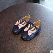 Sapatos Princesa das meninas Sapatos Único Sapatos Da Moda Bonito Orelhas de Coelho Sapatos de Couro Nova Primavera 2018 das Crianças Do Bebê Sapatilhas Crianças Botas