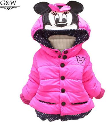 Casaco novas Crianças Minnie Meninas Do Bebê Casacos de inverno completo manga do casaco quente da menina casaco de Inverno Casacos Grossos Do Bebê menina roupas