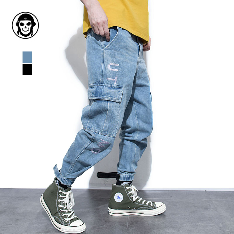 Fashion Streetwear Men   Jeans   Japanese Style Loose Fit Harem Trousers Big Pocket Cargo Pants Men Hip Hop Joggers   Jeans   Homme