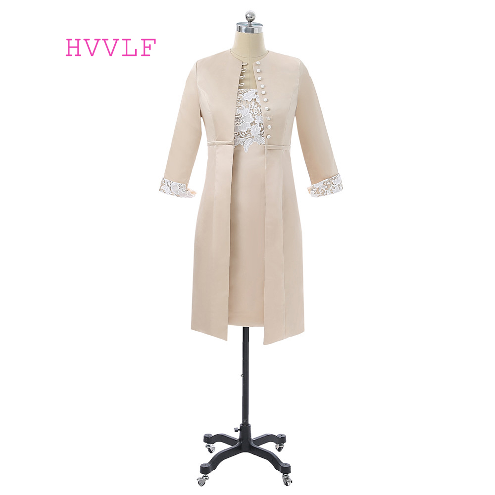 Champagne 2019 Mother Of The Bride Dresses Sheath Knee Length With Jacket Lace Plus Size Formal Groom Mother Dress For Wedding