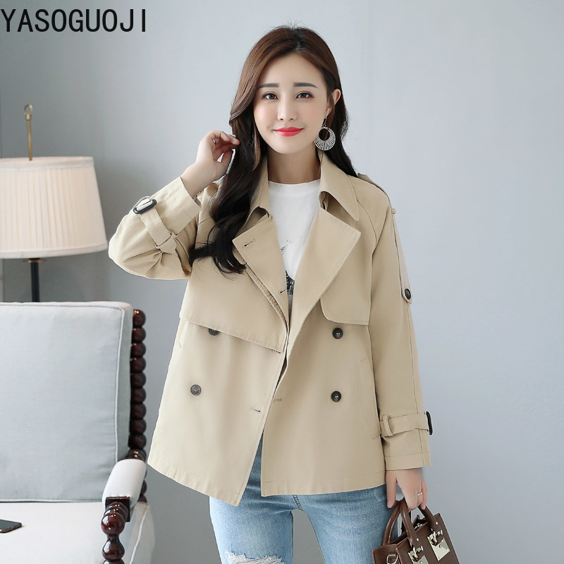 YASUGUO new office lady fashion solid color Double Breasted short windbreaker women Turn-down Collar Pockets   trench   women LJK3