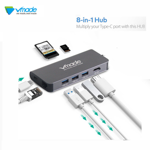 Image 1 - Vmade 8 in1 USB Type C 3.1 HUB for Type C to 3 USB 3.0 / 4K HDMI / RJ45 Ethernet / Micro SD TF Card Reader / USB Hubs Type C OTG