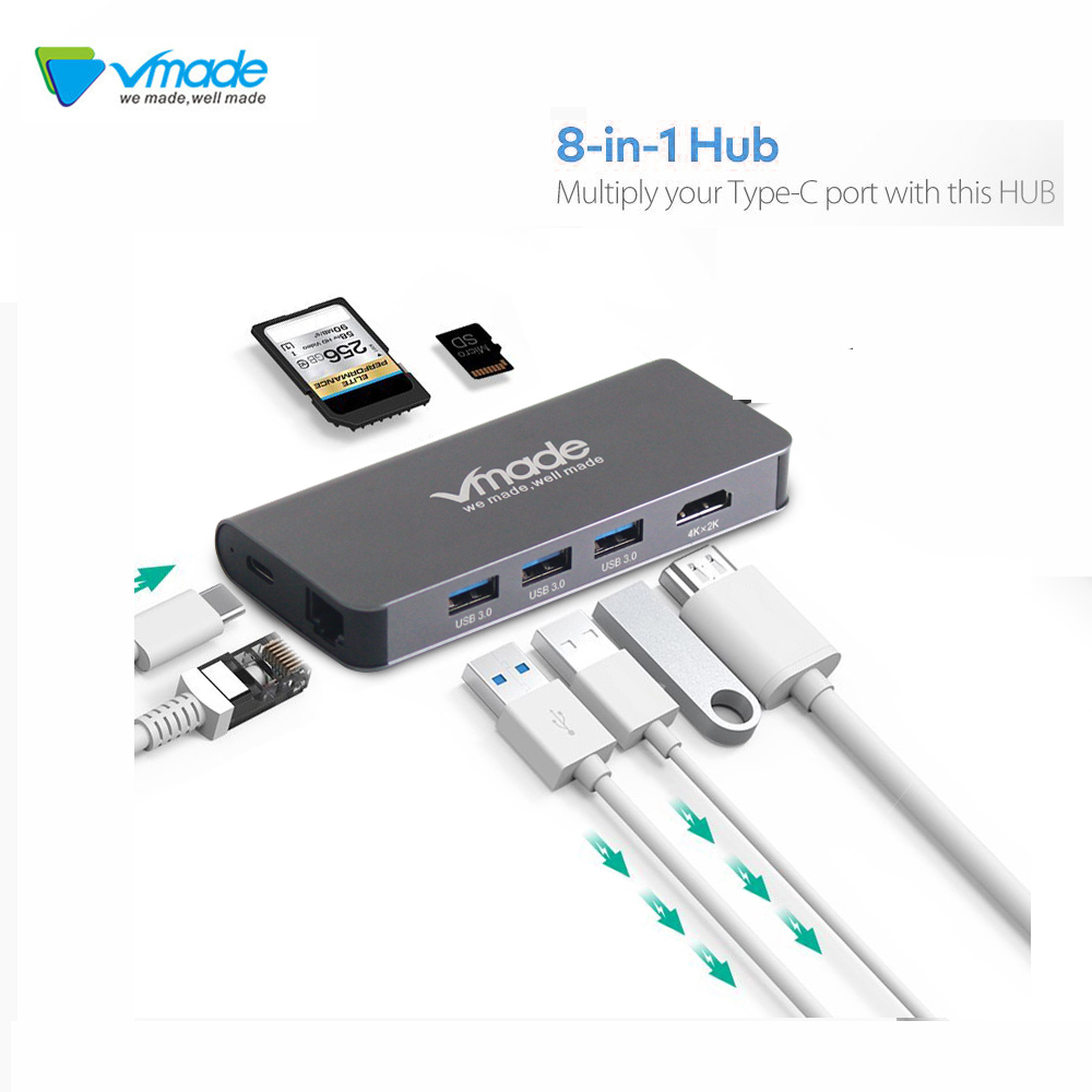 4 in1 USB-C a Type-C 3 Hub USB 3.0 HDMI RJ45 Ethernet Micro SDTF OTG Adattatore Nero