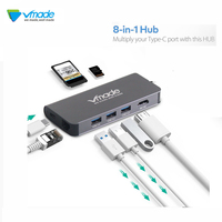 Vmade 8 in1 USB Type C 3.1 HUB for Type C to 3 USB 3.0 / 4K HDMI / RJ45 Ethernet / Micro SD TF Card Reader / USB Hubs Type C OTG