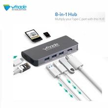 Vmade concentrador USB tipo C 3,1 8 en 1 para lector de tarjetas TF/USB 3,0/4K HDMI / RJ45 Ethernet / Micro SD