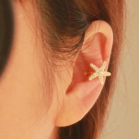 Non pierced ear clips star shape clip earrings clip 1 piece with shiny rhinestone U clip for lady