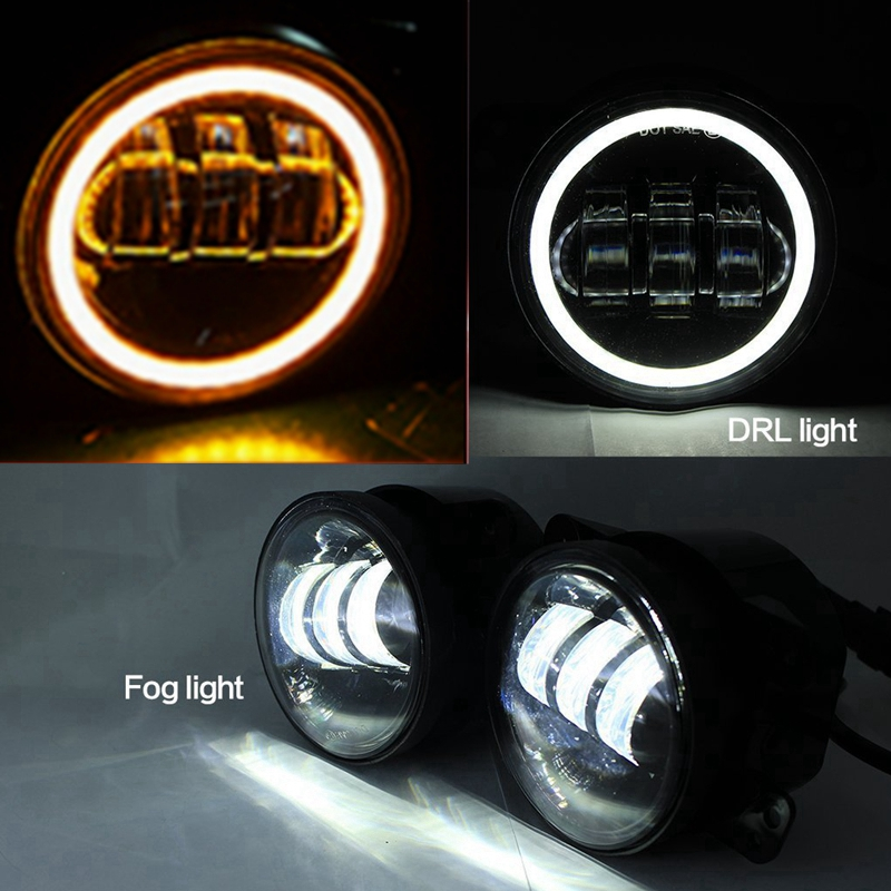 Pair 4 Inch 30w Led Fog Lights Auto Led Headlight Driving Offroad Lamp for Jeep Wrangler Dodge Chrysler Front Bumper Lights black chrome round 75w high low beam drl led auto headlight driving fog lights for jeep wrangler hummer h1 h2 offroad