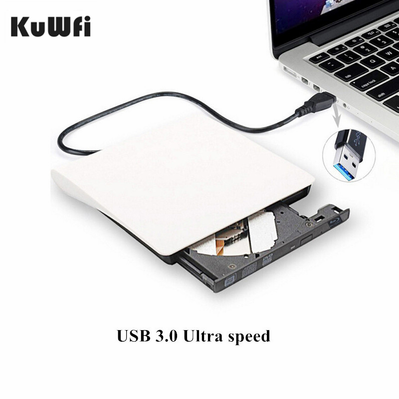 KuWFi <font><b>USB</b></font> <font><b>3.0</b></font> <font><b>DVD</b></font> Burner Bluray Player <font><b>DVD</b></font>/BD-ROM CD/<font><b>DVD</b></font> RW Writer Play 3D Movie External <font><b>DVD</b></font> <font><b>Drive</b></font> For Windows MAC OS/7/8/10 image