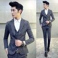 3 pieza Traje Homme Hombres Traje Nuevo de Moda Últimas Escudo Pant Chaleco diseños de Trajes de Boda para Los Hombres de Corea Slim Fit Mens Trajes de etiqueta