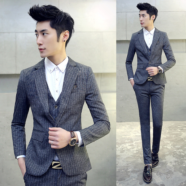 3piece Costume Homme Men Suit New Fashion Latest Coat Pant Vest Designs Wedding Suits For Men Korean Slim Fit Mens Dress Suits In Suits From Men S Clothing Accessories