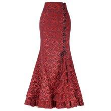 YJSFG בית בציר נשים חצאיות חצוצרת בת ים גותי ארוך Steampunk חצאית מקסי Fishtail ויקטוריאני אופנה תחבושת חצאית