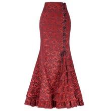 Юбка готика YJSFG Женская в стиле стимпанк, длинная юбка готика с юбкой годе, винтажная бандажная в викторианском стиле