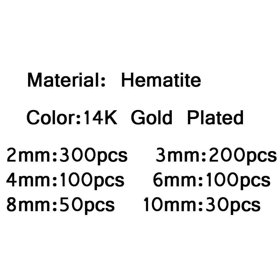 JHNBY Runde Hämatit perlen 2/3/4/6/8/10mm Natürliche Stein 14 Gold farbe Lose perlen ball Schmuck armbänder, Die DIY Zubehör