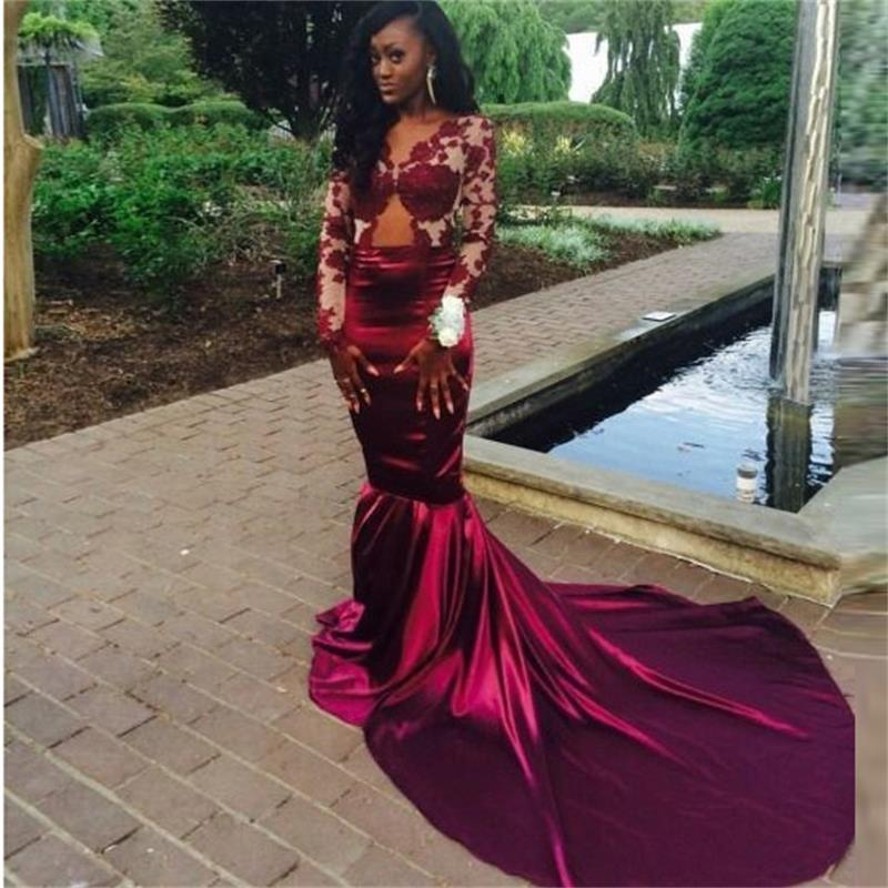 Maroon Mermaid Prom Dresses Long Sleeves Promotion-Shop for ...