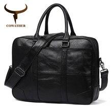 COWATHER Топ Корова Натуральная кожа Мужская сумка высокое качество повседневные сумки на плечо для мужчин мешок основной Q6395