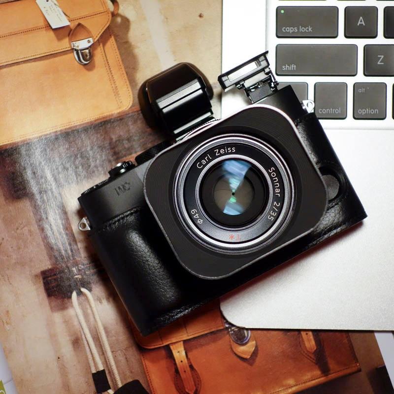 ソニー RX1R MKII M2 カメラ Mr.石ハンドメイドの本革カメラケースビデオ半分バッグカメラボディスーツ -