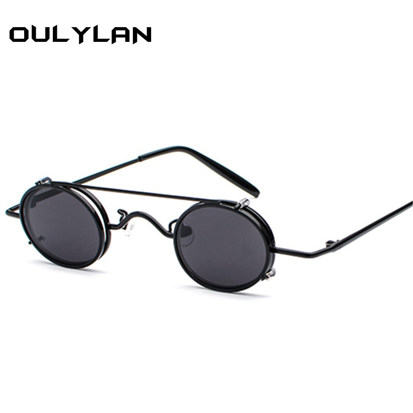5bb96659656 Oulylan Small Round STEAMPUNK Sunglasses for Men Retro Vintage Metal Punk  Clip on Sun Glasses Male Gift Small Oval Eyewear UV400-in Sunglasses from  Apparel ...