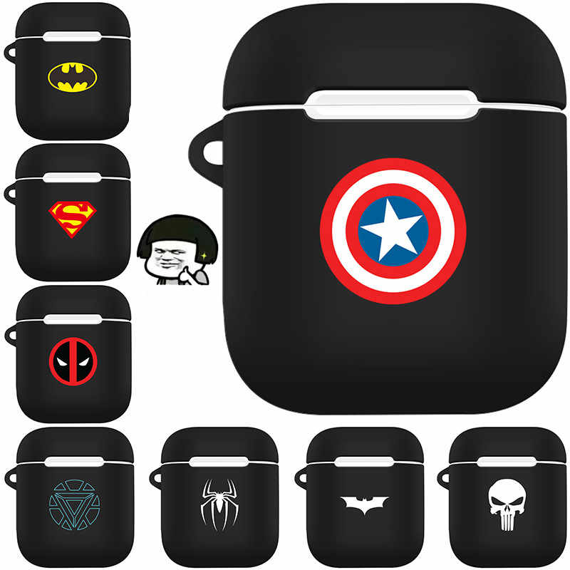 Marvel Style Matte Feel Earphone Case For Apple Airpods Accessories Cartoon Protective Case Dust-proof Decor Cover With Hook