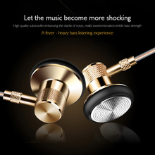 Gold Metal Earphone wired 3.5 mm jack bass headset fone de ouvido hifi earphone Noise isolating Earbud for smartphone MP3