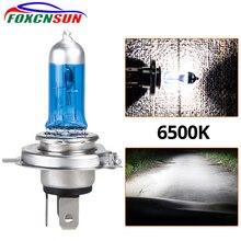Foxcnsun 1 шт. супер белая галогенная лампа H4 H7 12 В 55 Вт/60 Вт 100 Вт 6000 К 6500 к кварцевое стекло автомобильный головной светильник лампа мотоциклетный светильник