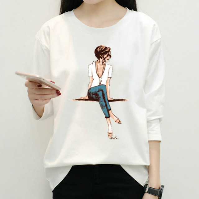NFIVE Brand 2017 New Spring Autumn Round Collar Long Sleeve Women's T-shirt Loose Fashion Printing Female Simple Women Tshirt