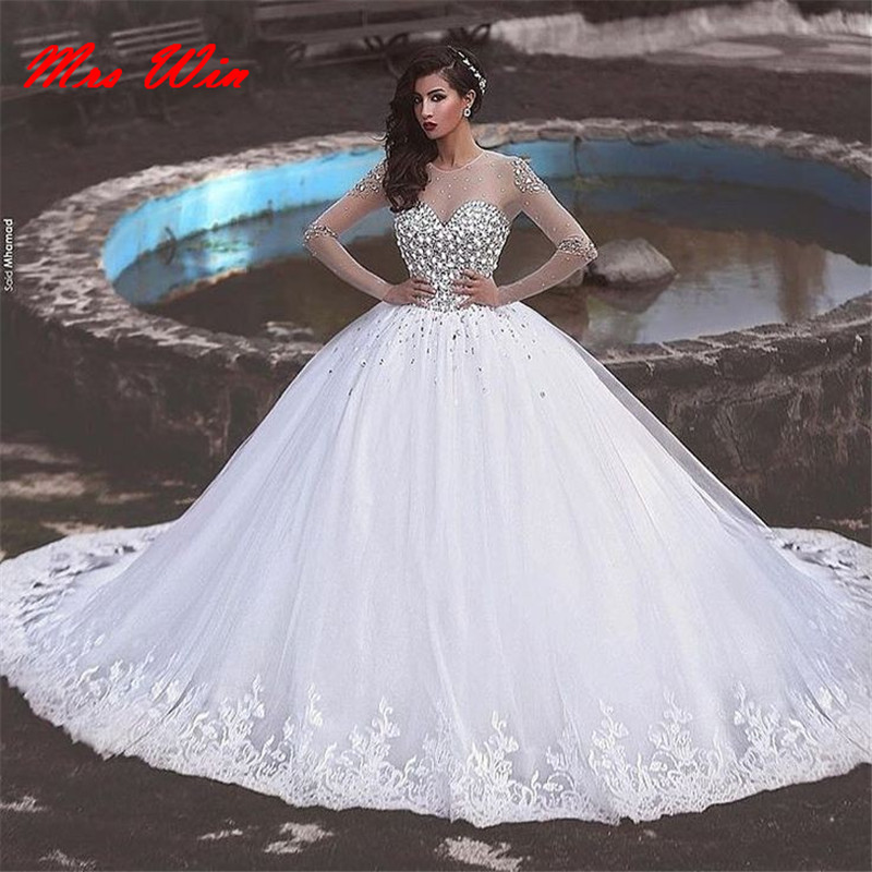 Beautiful Princess Wedding Gowns: Robe De Mariage 2019 Saudi Arabia Princess Pearls Crystal