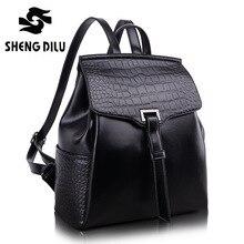 Shengdilu 100% реальная мягкая натуральная кожа женские рюкзак женщина корейский стиль дамы ремень ноутбук сумка Ежедневно Рюкзак девушка школы