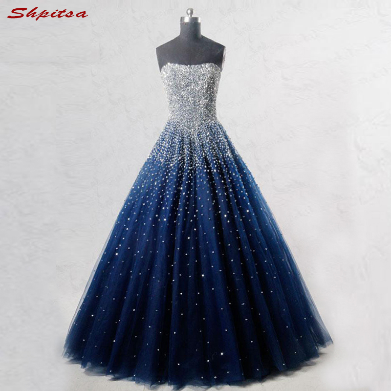 Navy Blue Mother Of The Bride Dresses For Weddings Beaded Crystal Evening Gowns Groom Godmother Dresses