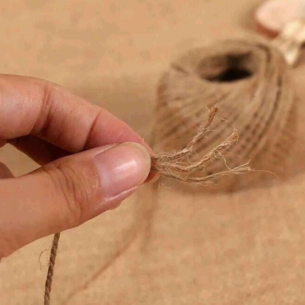 2 مللي متر 30 M/لفة الخيش حبل الطبيعية الجوت البرمة الخيش سلسلة القنب حبل الزفاف هدية التفاف حبال المنزل المنسوجة الزخرفية DIY الحرف