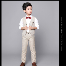 Big Boys Blazer Suits for Weddings Kids Cotton Vest+Pants 2