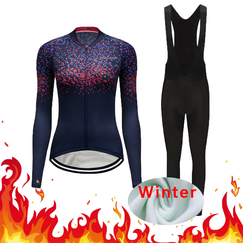 Women Winter Bicycle Clothes Sets Thermal Fleece Cycling Jersey Kits Female Bike Clothing Suit Riding Uniform Dress Maillot Wear