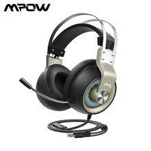 Mpow EG3 Pro oyun kulaklığı 50mm sürücü 3.5mm USB kablolu kulaklık ile On Line ses kontrolü gürültü iptal Mic PC için Xbox