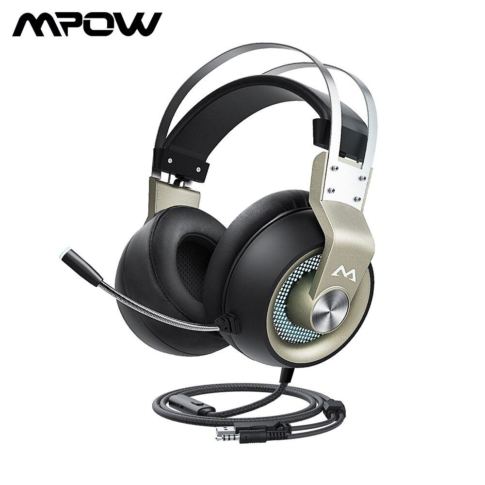 Mpow eg3 pro gaming headset 50mm driver 3.5mm usb wired fone de ouvido com controle de volume em linha cancelamento de ruído microfone para pc xbox