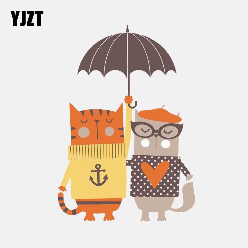 Exterior Accessories Apprehensive Yjzt 10.2cm*14.2cm Two Cats Under The Umbrella Pvc High Quality Car Sticker 11-00951