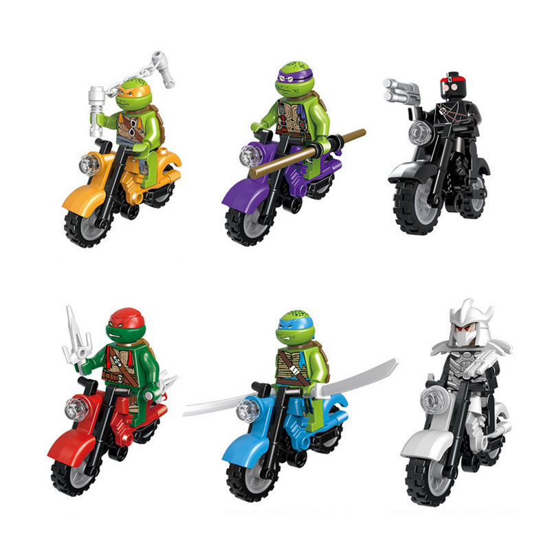 Model Building Blocks 6pcs/lot Turtle Action Figures Leonardo Michelange Motorcycle Legoings Model Building Ninja Blocks Bricks Toys For Children Online Shop