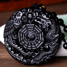 цена на Natural Black Obsidian Hand Carved Chinese Dragon Phoenix BaGua Lucky Amulet Pendant Free Necklace Fahion Fine Jade Jewelry