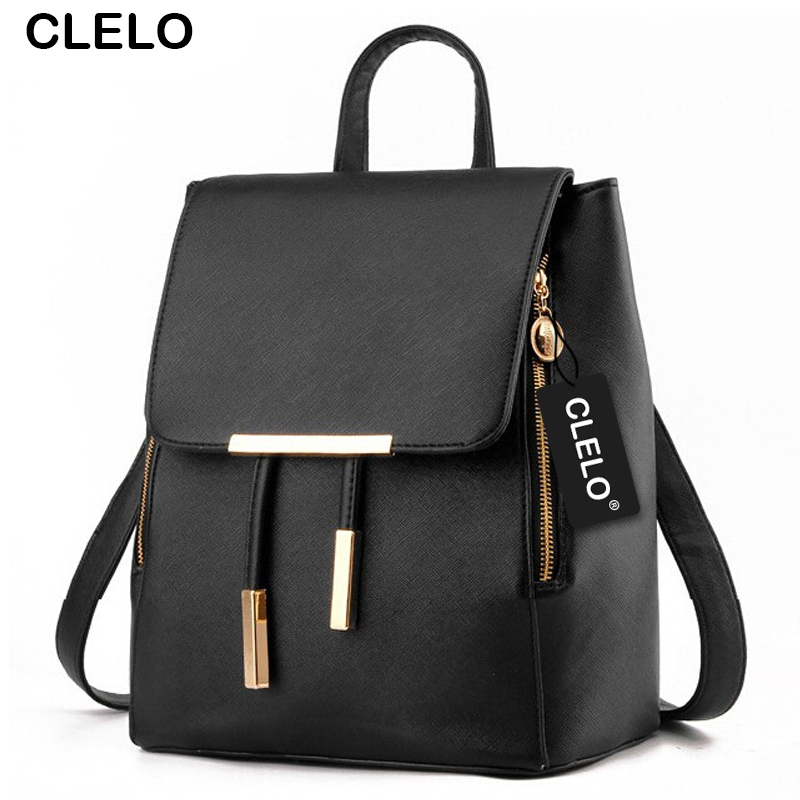 CLELO 2017 new fashion women pu backpcak for teenagers girls designer bags famous brand women for female backpacks pretty style new brand designer women fashion backpacks simple koran style school for teenager girls ladies shoulder bags black