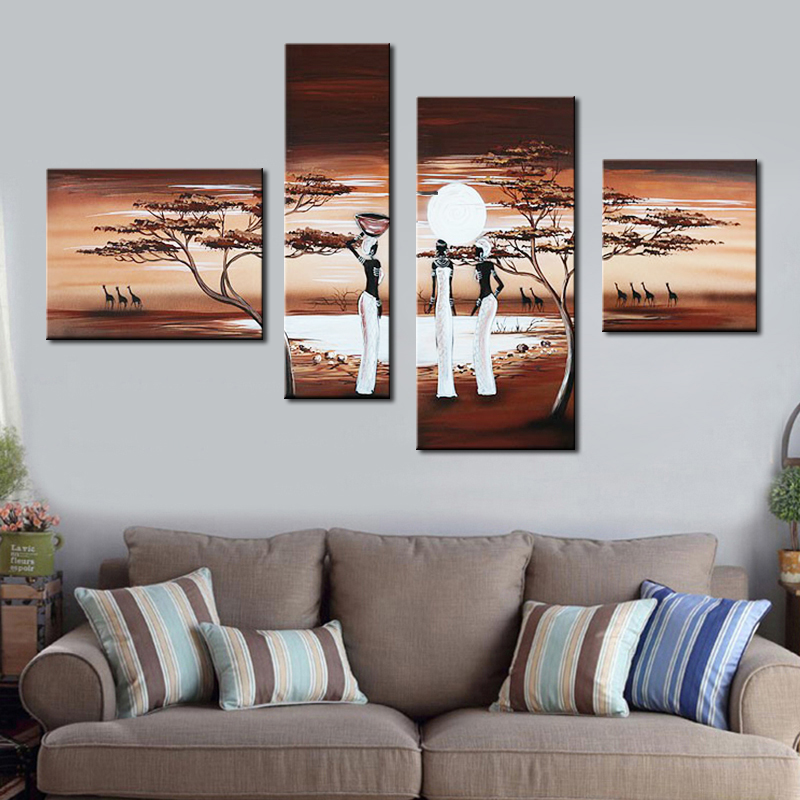 Oil Painting High Quality Blue African People Tribal Life Landscape Lake On Canvas Modern 4 Pcs Group Wall Art Home Decor
