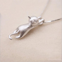 Popular S925 Sterling Silver Korean Fashion Simple Animal Jewelry Cute Kitty Clavicle Chain Pendant Cat Necklace   H3
