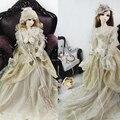 Bjd Clothes Pricess Beige Mix Gold thread Dress Suit (4pcs) Bjd Accessories for 1/3 1/4  Bjd Doll