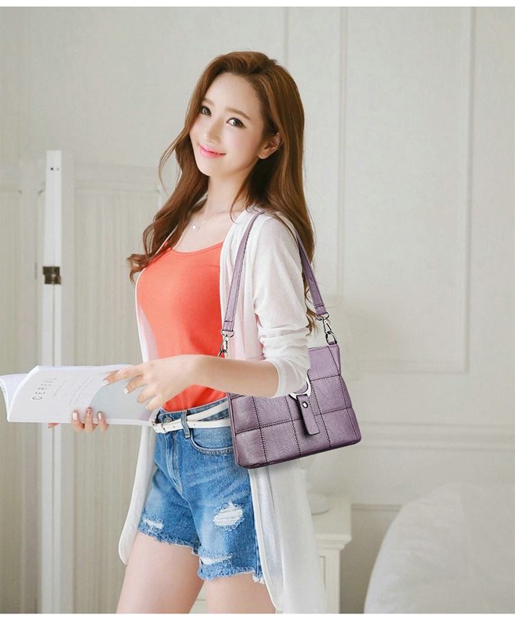Women Quality Leather Plaid Pattern Handbag 20