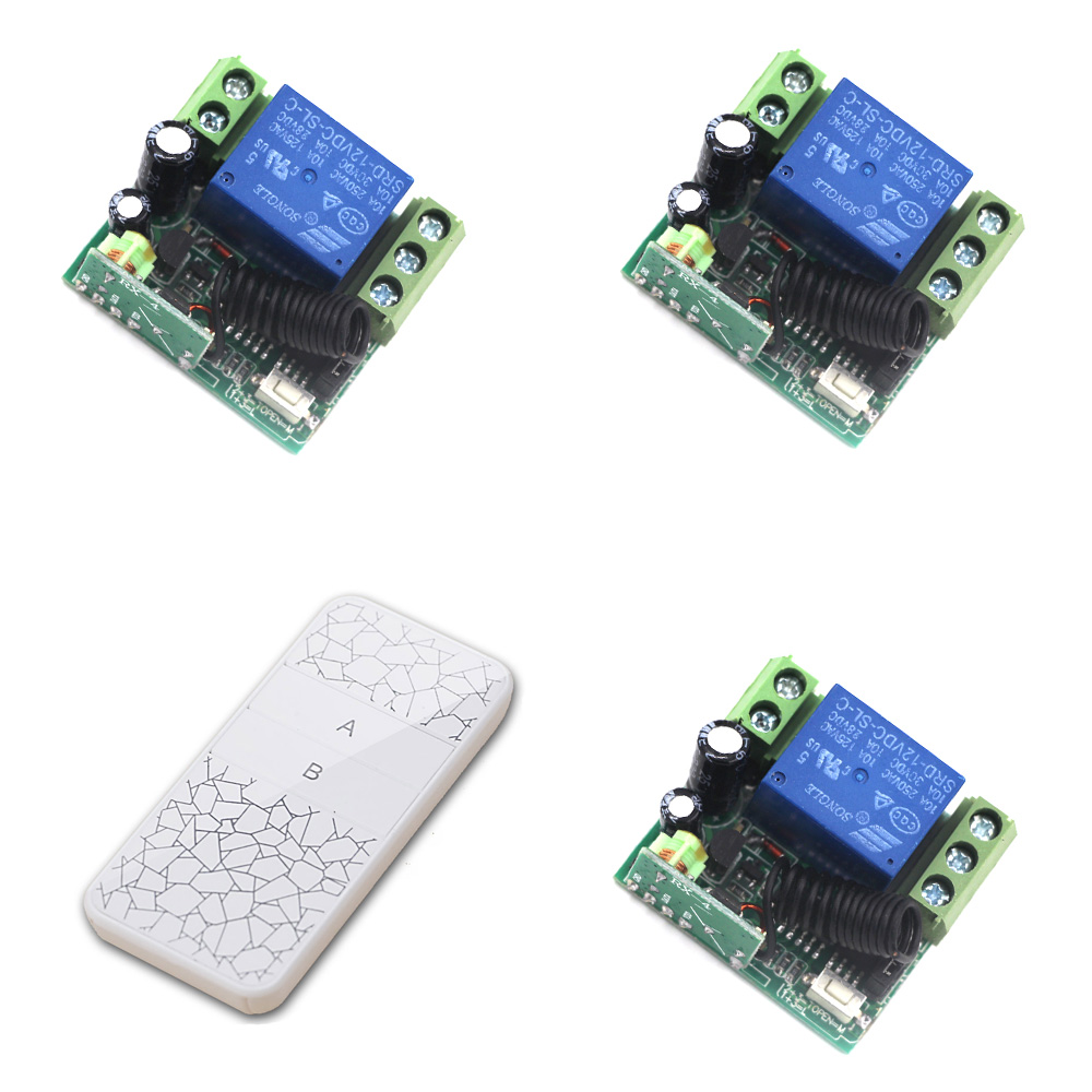 Wireless Remote Control Switch 315Mhz RF Remote Switch System 433Mhz 1CH 10A Relay Remote ON-OFF DC 12V Receiver Transmitter купить
